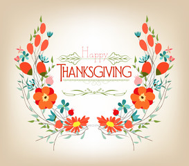 Floral background thanksgiving greeting