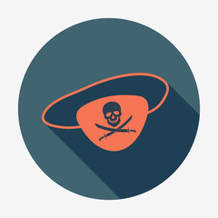 Pirate icon, eye-patch with jolly roger. Icon with long shadow.