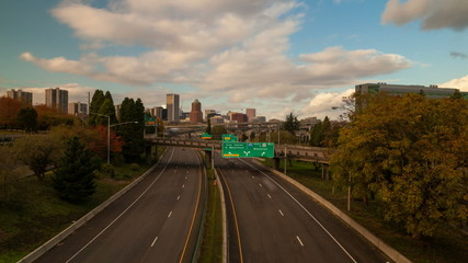 Time Lapse of Traffic on I5 Highway with Portland OR Skyline