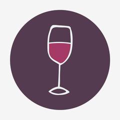 Hand-drawn glass of wine icon.