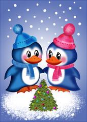 маленькие пингвины встречают Новый год с нарядной елочкой