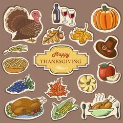 Set of Sketch doodle Thanksgiving label