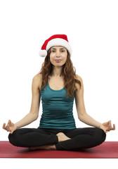 Christmas woman meditating