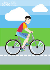 Man riding his bike on the road among green fields