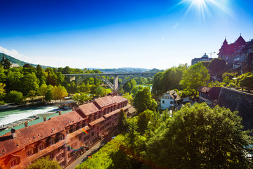 Aare river in Bern downtown