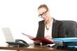 Leinwanddruck Bild - Businessfrau am Arbeitsplatz