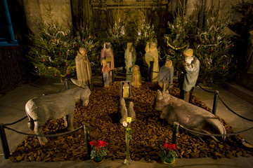 crib in Cathedral Notre Dame, Reims, Champagne, France