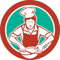 Female Chef Mixing Bowl Circle Retro