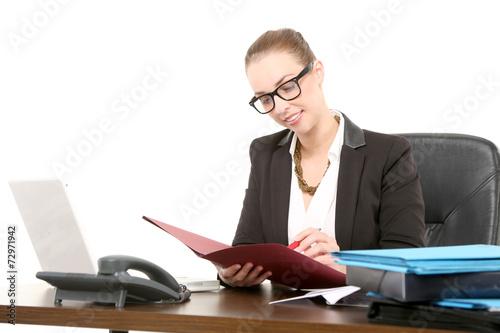 Leinwanddruck Bild Businessfrau am Arbeitsplatz