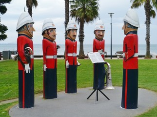 The humorous painted wood bollards at the waterfront of Geelong