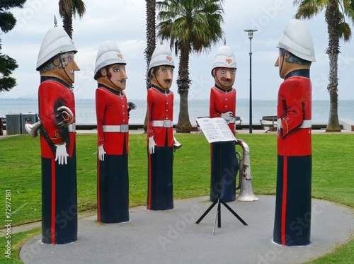 Papiers peints Statue The humorous painted wood bollards at the waterfront of Geelong
