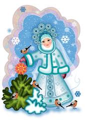 Русская снегурочка с елкой и снегирями