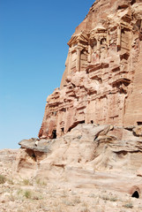 View of the tombs in Petra, Jordan.