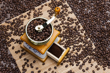 coffee mill with coffee beans