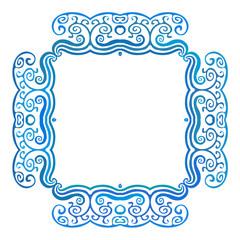 Vintage square frame with blue waves, vector