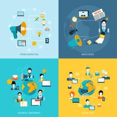 Communication icons set flat