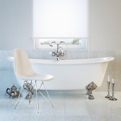 Vintage bathtub in modern interior with window and white chai