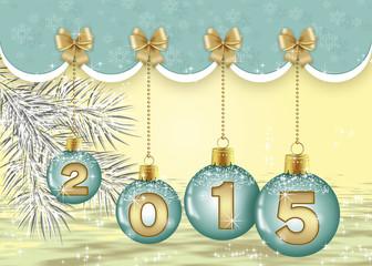 новогодний фон с голубыми шарами, золотыми бантами