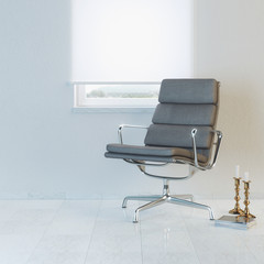 Modern white room with office armchair and window