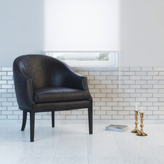 Black leather armchair in minimalist interior design
