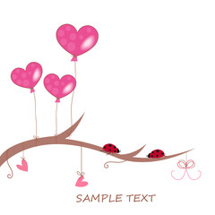 Pink heart balloons, hearts and ladybird greeting card vector
