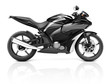 3D Image of a Black Modern Motorbike - 72973512