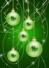 новогодний зеленый фон, с шарами, бусами, серпантином