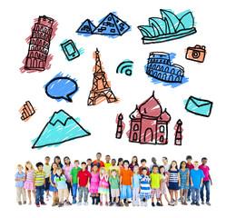 Large Multiethnic Children Travel Destinations