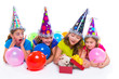 Happy kid girls puppy dog gift in birthday party