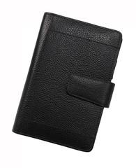 black notebook on white background