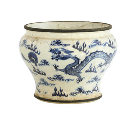 Vintage chinese ceramic pot (with clipping path)