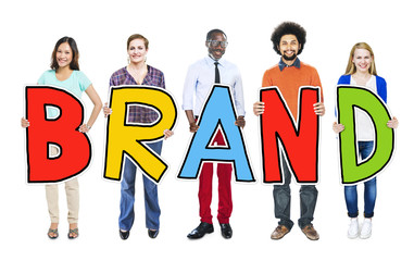 Group of Diverse People Holding Brand