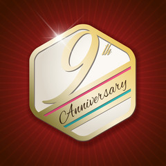 9th Anniversary - golden Seal, Badge on red rays background