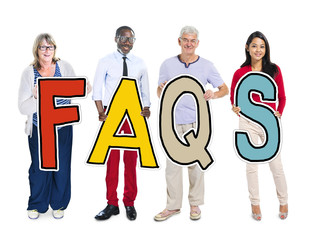 Group of People Standing Holding Word FAQS