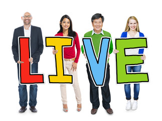 Group of Diverse People Holding Live