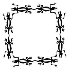 Black frame with dragons or lizards, vector