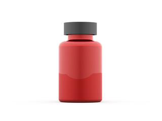 Pills bottle red rendered isolated
