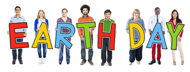 Diverse People Holding Text Earth Day