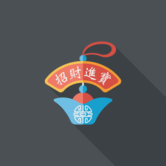 Chinese New Year flat icon with long shadow,eps10, Gold ingot lu