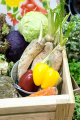 Thai vegetable in wooden box