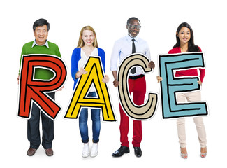 Multiethnic Group of People Holding Word Race