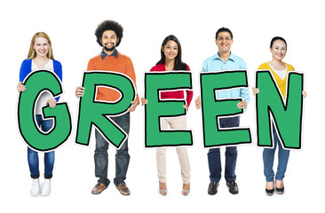 Group of People Holding Letter Green Concepts