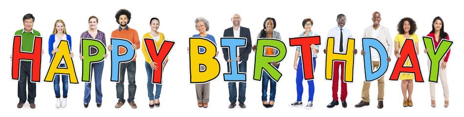 Multi-Ethnic People Holding Text Happy Birthday