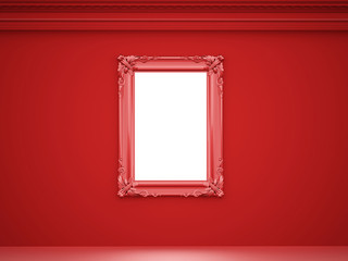 Red vintage mirror frame on the wall