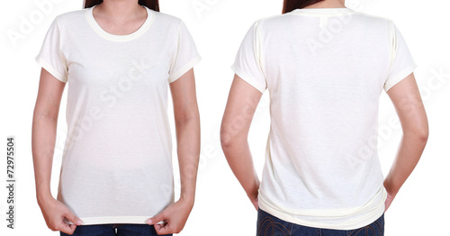 blank t-shiet set (front, back) with female - 72975504