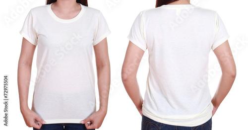 Leinwandbild Motiv blank t-shiet set (front, back) with female