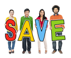 Group of Diverse People Holding Save