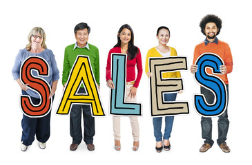 Group of People Standing Holding Word Sales