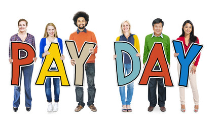 Group of People Standing Holding Word Payday