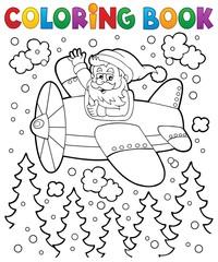 Coloring book Santa Claus in plane